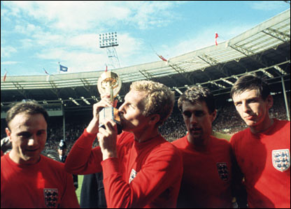 England captain Bobby Moore lifts the World Cup at Wembley