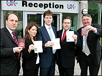 Liberal Democrat MPs at the Passport Office, Victoria, London