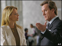 Actors Jeri Ryan and James Woods in a scene from TV show Shark