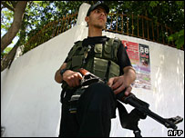 A member of the new Hamas auxiliary police force on duty in Gaza City