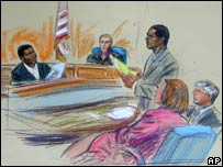Lee Malvo (left) seen being questioned by John Muhammad (standing) in a courtroom  drawing