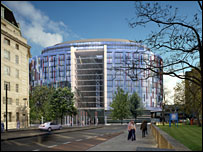 Artist's impression of Westminster Bridge Park Plaza hotel