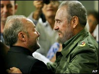 George Galloway (left) greets Fidel Castro (right) during a Cuban television programme