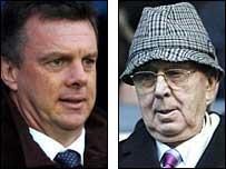 Aston Villa manager David O'Leary (left) and chairman Doug Ellis