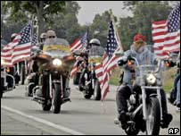 Motorcycle groups ride in support of a US serviceman killed in action
