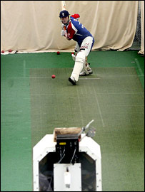 Andrew Flintoff in the nets against Merlyn