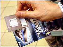 Gillette razor blades tagged with an RFID chip, on sale at the Metro Future Store in Rheinberg, Germany