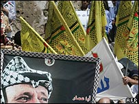 Fatah demonstration, with party flags and picture of Yasser Arafat