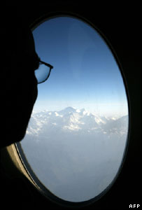 Passenger looking out of an aeroplane's window