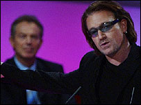 Rock star Bono addressing a Labour Party conference (Image: PA)