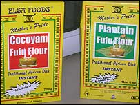 Packets of instant fufu