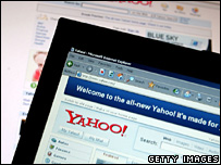 Yahoo search page