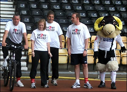 John locks horns with Derby County legend Ted McMinn, BBC Radio Derby's Andy Whittaker and Helen Ledwick and Rammie at Pride Park