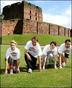 BBC Radio Cumbria pick a picturesque spot to complete their mile - Carlisle Castle provides a lovely backdrop