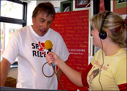 John Inverdale runs a mile in Lancashire