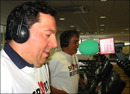Next stop is Luton and an early-morning mile on the treadmill alongside BBC Three Counties Radio Breakfast Show presenter Roberto Perrone
