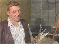 Andy Johnson and young crocodile