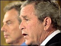 UK Prime Minister Tony Blair and US President George W Bush
