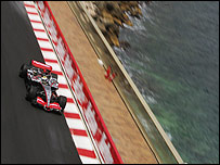 Juan Pablo Montoya's McLaren approaches the tunnel at Monaco