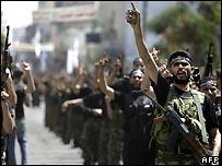Miembros de la fuerza paramilitar de Hamas en Gaza.