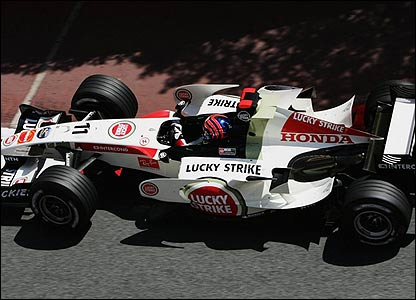 Rubens Barrichello in his Honda
