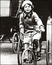 Princess Elizabeth on her tricycle in 1931