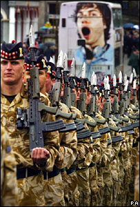 The Royal Scots during a parade in Edinburgh on Friday