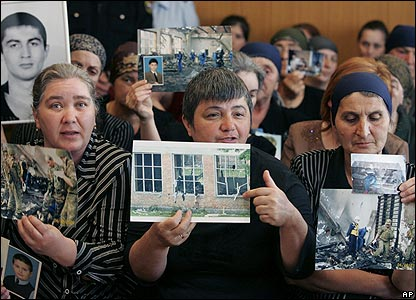 Relatives of the Beslan victims in the Vladikavkaz court house on Friday