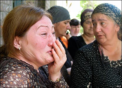 Relatives outside the court house in Vladikavkaz on Friday