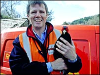 Postman Steve Dykes and the pheasant (photo courtesy of Daily Post)