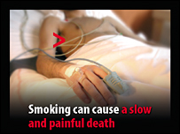 Cigarette packet warning on smoking