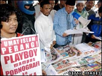 Muslim anti-Playboy protesters in Indonesia