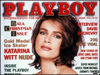 Katarina Witt on the cover of Playboy in December 1998