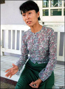 At her home whilst under house arrest in 1989