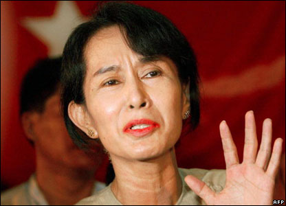 Aung San Suu Kyi speaking at a press conference after being freed from 19 months under house arrest,