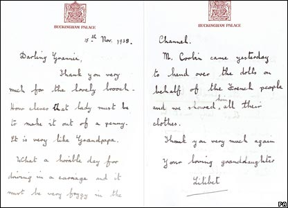 Letter by the Queen in 1938