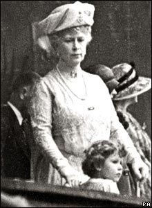 Princess Elizabeth, now Queen Elizabeth II, with Queen Mary at the Naval and Military Tournament