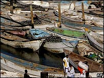 A view of boats similar to those used by African migrants travelling to Europe