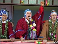 De izq. a der.: Evo Morales, Hugo Chávez y Carlos Lage