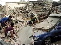 Car under rubble