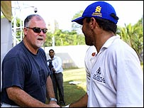 Mike Gatting shakes hands with an Afghanistan player after the MCC took them on - and lost