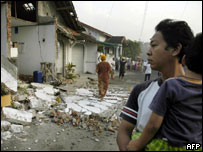 Damage caused by Indonesian earthquake