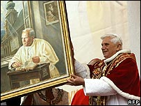 Pope Benedict XVI with a picture of John Paul II in Wadowice