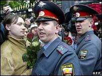 Nikolay Alexeyev with Moscow police