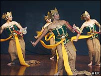 Indonesian students from the Jakarta Art Institute perform Javanese classical dance