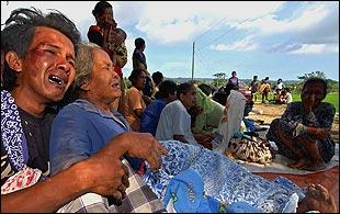 Injured villagers in Java
