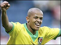 Wales striker Robert Earnshaw celebrates his winner against Trinidad & Tobago