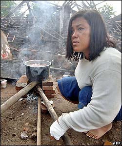 Woman cooks by her ruined house