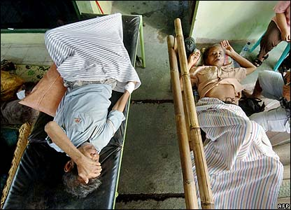 Two injured survivors recover at a medical centre