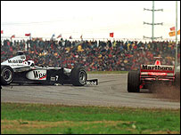 David Coulthard fights to control his McLaren after Michael Schumacher pushes him out of the way in Buenos Aires in 1998